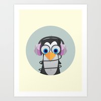 headphones Art Prints featuring Headphones by Penguin Pile Up