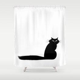 Long Tail Black Cat Shower Curtain