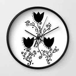 Three Tulips Doodle Art – Black Graphic Wall Clock