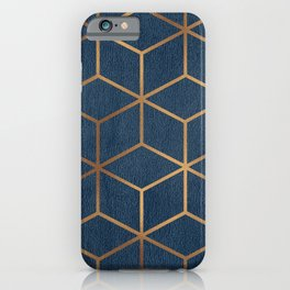 Dark Blue and Gold - Geometric Textured Cube Design iPhone Case