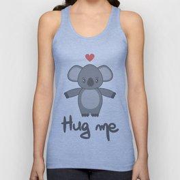 cute hand drawn lettering hug me with cartoon lovely koala bear Unisex Tank Top