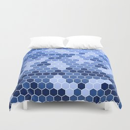 Honeycomb Blue Pattern | Geometric Shapes | Home Decor | Sapphire | For Him | For Her Duvet Cover