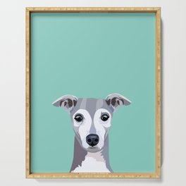 Italian Greyhound pet portrait wall art and gifts for dog breed lovers Serving Tray