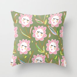 Springy Ladyflowers Throw Pillow