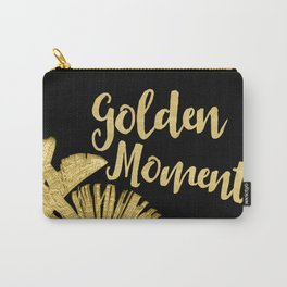 Golden Moments Glamorous Typography And Tropical Leaf Carry-All Pouch
