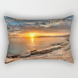 The sunset from a rocky location in Andros, Greece Rectangular Pillow