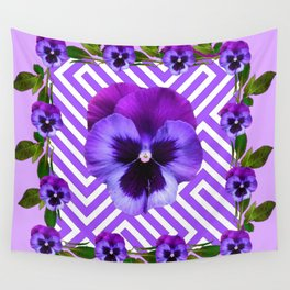 LILAC PURPLE ON PURPLE PANSIES  FLOWERS PATTERNS Wall Tapestry