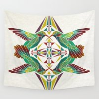 hummingbird Wall Tapestries featuring hummingbird  by Manoou