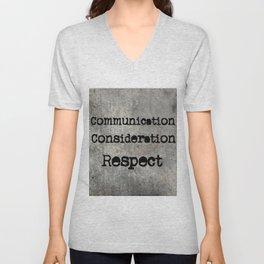 COMMUNICATION CONSIDERATION RESPECT Unisex V-Neck
