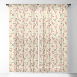 A Chance of Rain - Coral & Cream Sheer Curtain