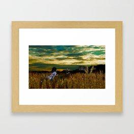 Wheat field Sundown Framed Art Print