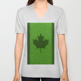 Grass flag Canada / 3D render of Canadian flag grown from grass Unisex V-Neck