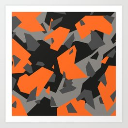 Black\Grey\Orange Geometric camo Art Print
