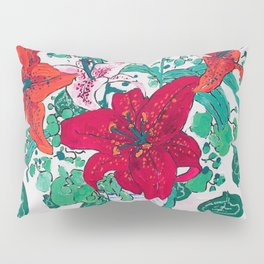 Tropical Lily Bouquet in Delft Vase with Matisse Leaf Cutout Background Pillow Sham