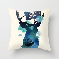hook Throw Pillows featuring Captain Hook by Robert Farkas
