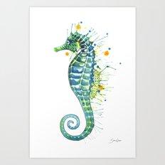 Seahorse: Green Art Print