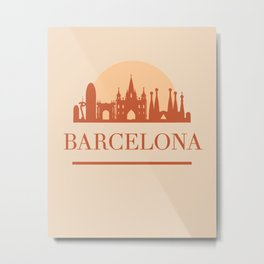 BARCELONA SPAIN CITY SKYLINE EARTH TONES Metal Print