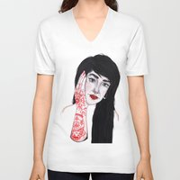 russian V-neck T-shirts featuring Russian Doll by scoobtoobins