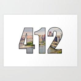 412 (Pittsburgh Area Code) Art Print