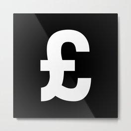 Pound Sign (White & Black) Metal Print