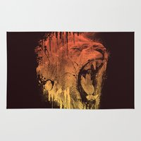 fierce Area & Throw Rugs featuring FIERCE LION by dzeri29