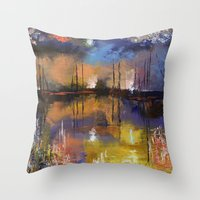 fireworks Throw Pillows featuring Fireworks by Michael Creese