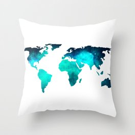World Map Space Galaxy Stars in Turquoise Throw Pillow