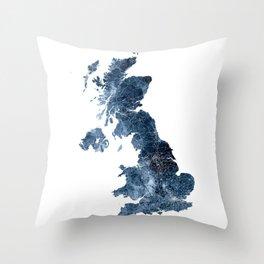 United Kingdom Map Watercolor Blue by zouzounioart Throw Pillow