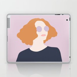 Orange Hair Girl // Minimalist Indie Rock Music Festival Lavender Sunglasses by Mighty Face Designs Laptop & iPad Skin