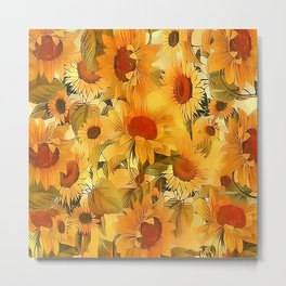 Sunshine Floral Abstract Metal Print
