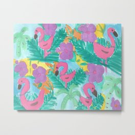 Tropical Flamingo Jungle Metal Print