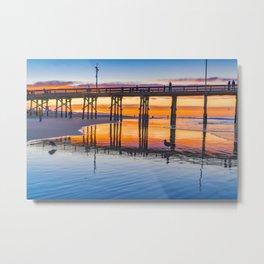 Newport Pier Seagull at Dawn Metal Print
