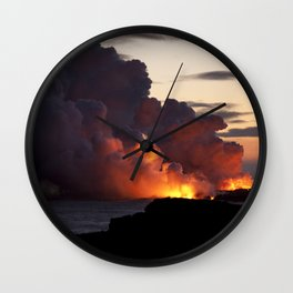 Lava Vaporizes Ocean Wall Clock