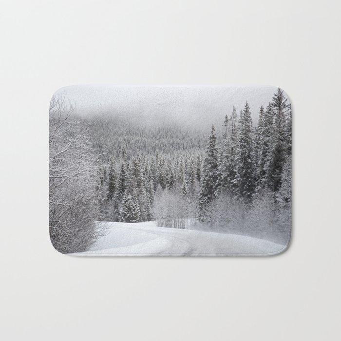 Snow Covered Road Bath Mat