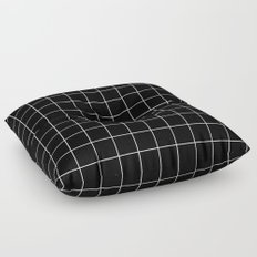 Black White Grid Floor Pillow