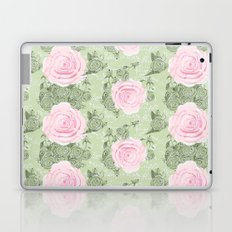 Hand-drawn vines and roses and pink watercolor roses Laptop & iPad Skin