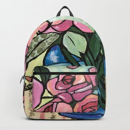 Roses in Blue vase collage Backpack