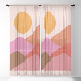 Abstraction_Mountains_SUNSET_Minimalism_008 Sheer Curtain