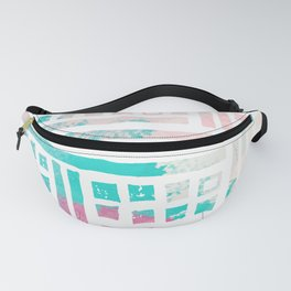 Pastel pink magenta coral geometrical watercolor Fanny Pack