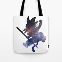 goku Tote Bags featuring SPACE GOKU by DrakenStuff+