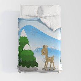 Little winter deer Comforters
