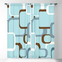 Retro Square Geometric Pattern Brown White Blue Blackout Curtain