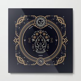Virgo Zodiac Gold White on Black Background Metal Print