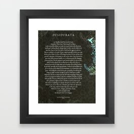 Desiderata Poem on Black Chalk Board Damask with Blue Hummingbird Framed Art Print
