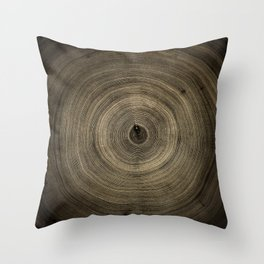 Detailed smoky dark brown cut wood tree with growth rings pattern Throw Pillow