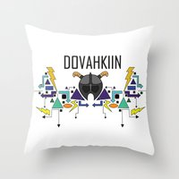 skyrim Throw Pillows featuring Skyrim: The Dovahkiin - BLUE by E_Nicholson