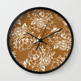 Dark Clay and White Floral Peony Bouquet Wall Clock
