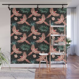 Pink macaw parrots on the starry night sky Wall Mural