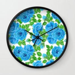 Blue roses watercolor seamless pattern Wall Clock