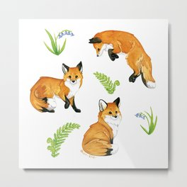 Woodland & Red Foxes Metal Print